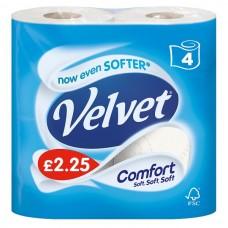 Velvet Comfort 4 Toilet Rolls 6 pack