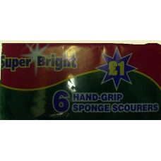 Super Bright Sponge Scourers pack of 6